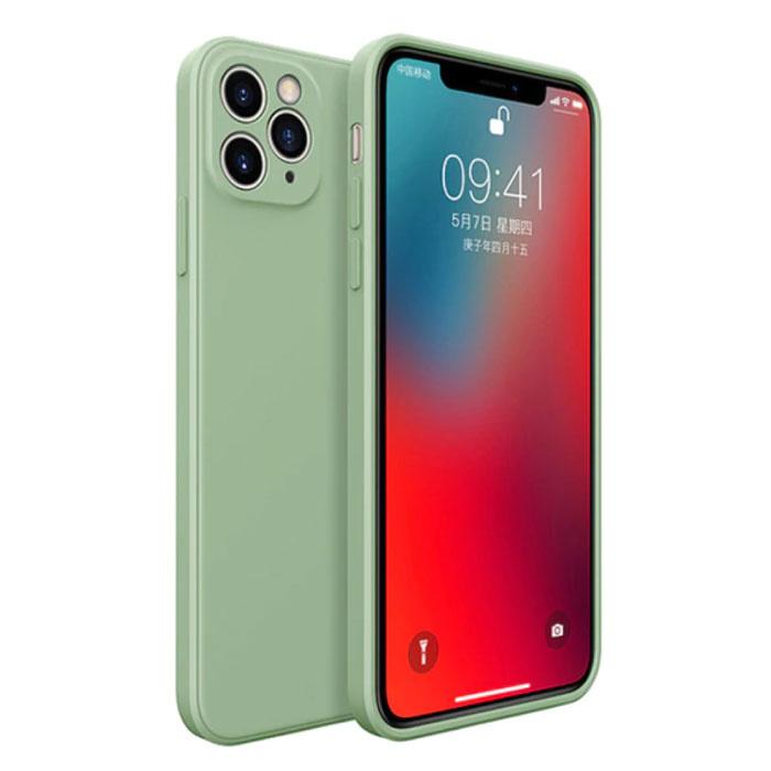 iPhone 12 Square Silicone Case - Soft Matte Case Liquid Cover Green