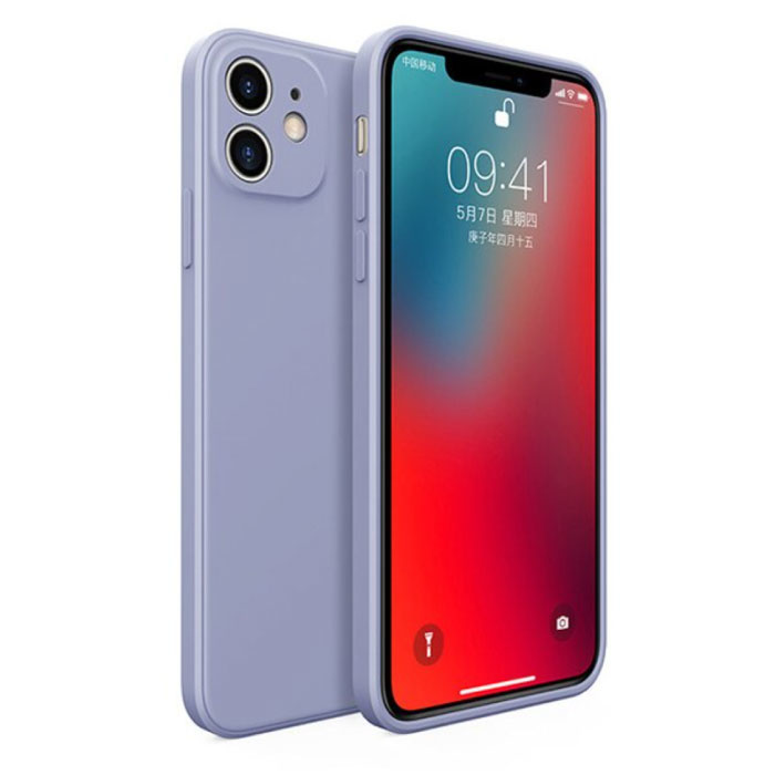 iPhone 12 Pro Square Silicone Hoesje - Zachte Matte Case Liquid Cover Lichtblauw