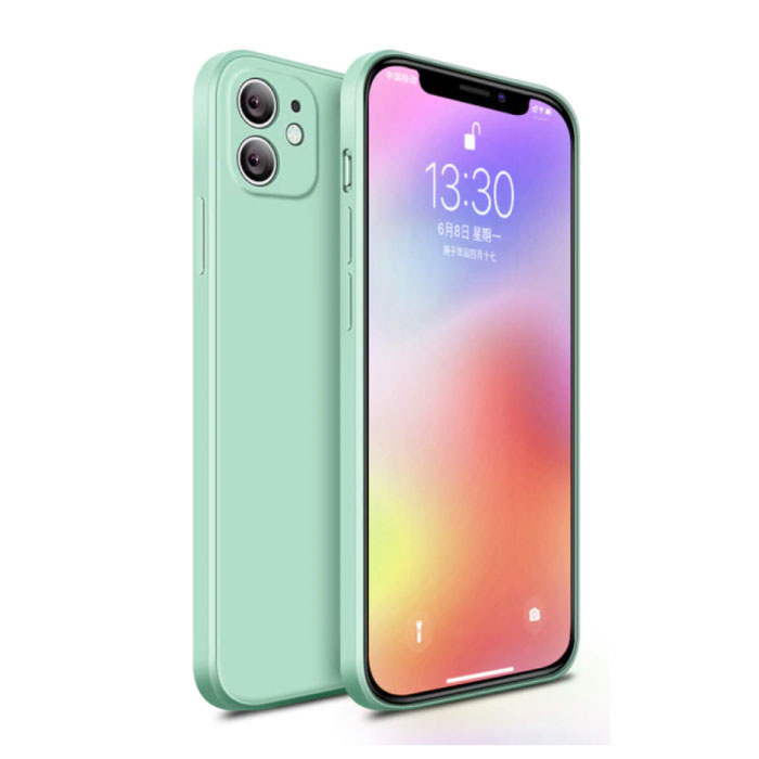 iPhone 11 Square Silicone Hoesje - Zachte Matte Case Liquid Cover Lichtgroen