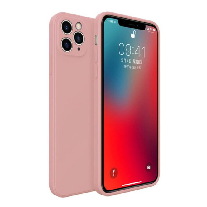 iPhone 12 Pro Square Silicone Hoesje - Zachte Matte Case Liquid Cover Lichtroze
