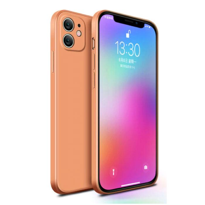 Coque iPhone 12 Mini Carrée en Silicone - Coque Souple Matte Liquid Cover Orange
