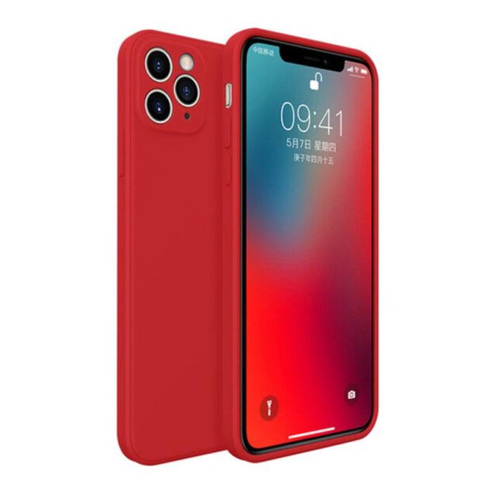 iPhone 11 Pro Max Square Silicone Hoesje - Zachte Matte Case Liquid Cover Rood