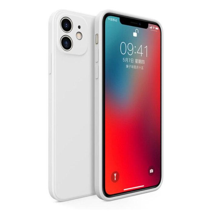 Coque en silicone carrée pour iPhone 11 Pro Max - Coque souple et mate Liquid Cover Blanc