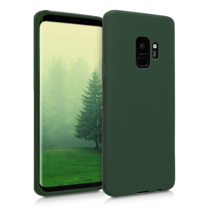Samsung Galaxy S9 Plus Silicone Hoesje - Zachte Matte Case Liquid Cover Donkergroen
