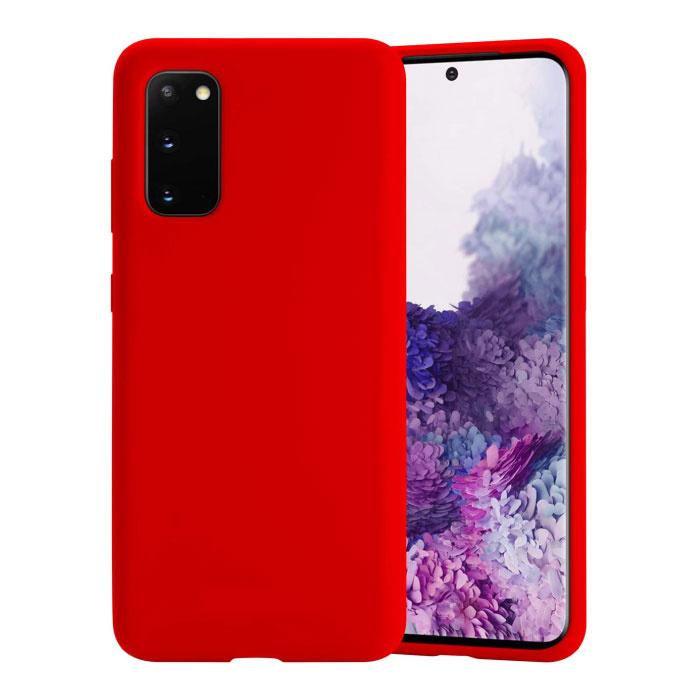 Samsung Galaxy M21 Silikonhülle - Soft Matte Case Liquid Cover Red