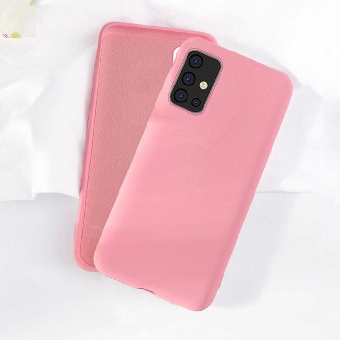 Samsung Galaxy M21 Silicone Hoesje - Zachte Matte Case Liquid Cover Roze