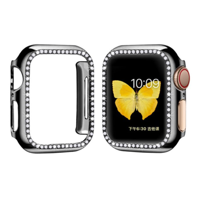Diamond Hoesje voor iWatch Series 44mm - Hard Bumper Case Cover Zwart