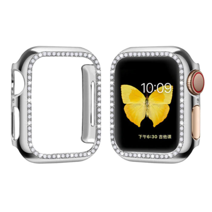 Diamond Case for iWatch Series 44mm - Hard Bumper Case Cover Silver