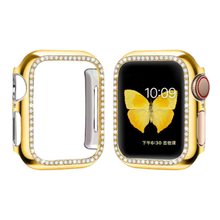 Diamond Case for iWatch Series 44mm - Hard Bumper Case Cover Gold