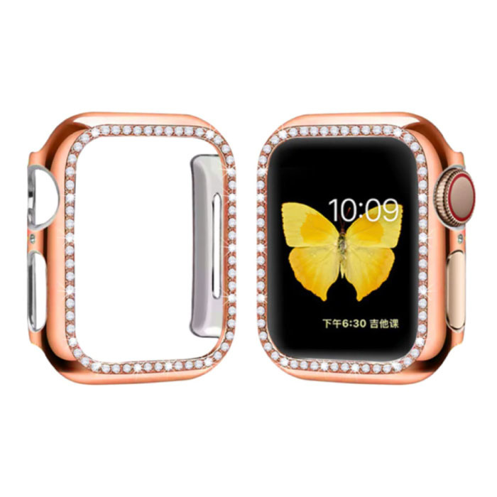 Diamond Case for iWatch Series 44mm - Hard Bumper Case Cover Rose Gold