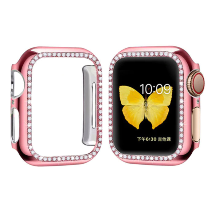Diamond Case for iWatch Series 44mm - Hard Bumper Case Cover Pink