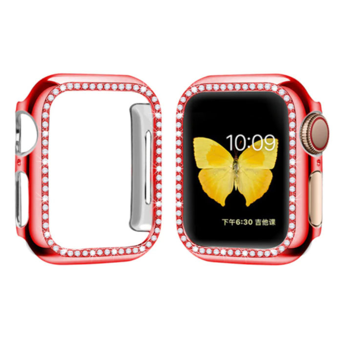 Diamond Case for iWatch Series 40mm - Hard Bumper Case Cover Red