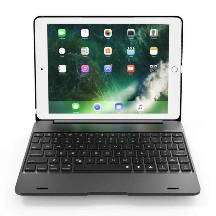 """Étui clavier pour iPad 9.7"""" - Clavier multifonction QWERTY Bluetooth Aluminium Smart Cover Case Case Noir"""