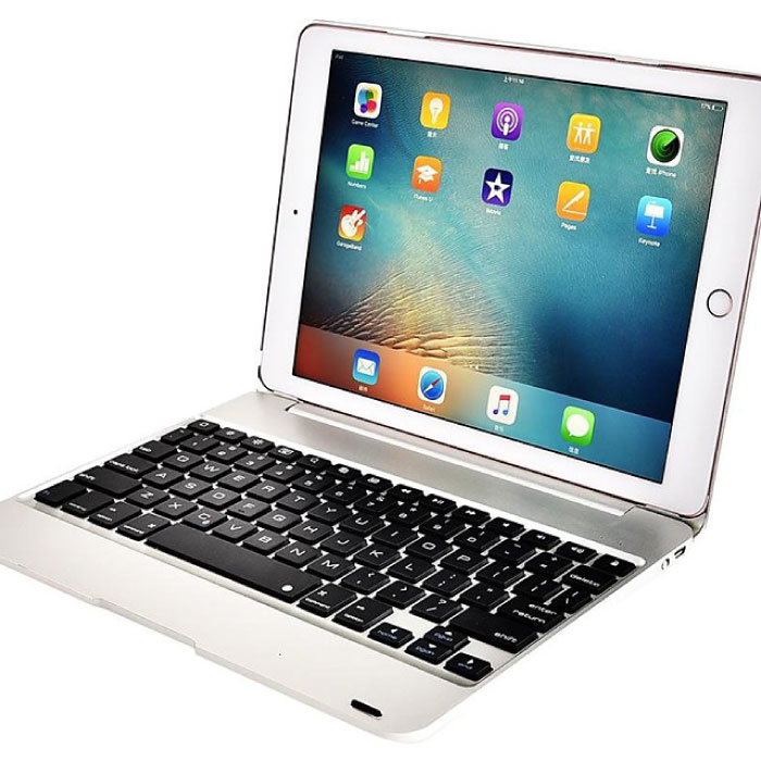 "Tastaturabdeckung für iPad 9,7 ""- QWERTY Multifunktionstastatur Bluetooth Smart Cover Hülle Silber"
