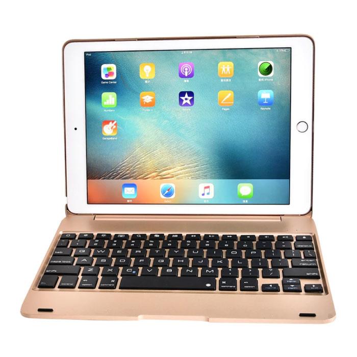 """Tastaturabdeckung für iPad 9,7 """"- QWERTY Multifunktionstastatur Bluetooth Smart Cover Hülle Gold"""