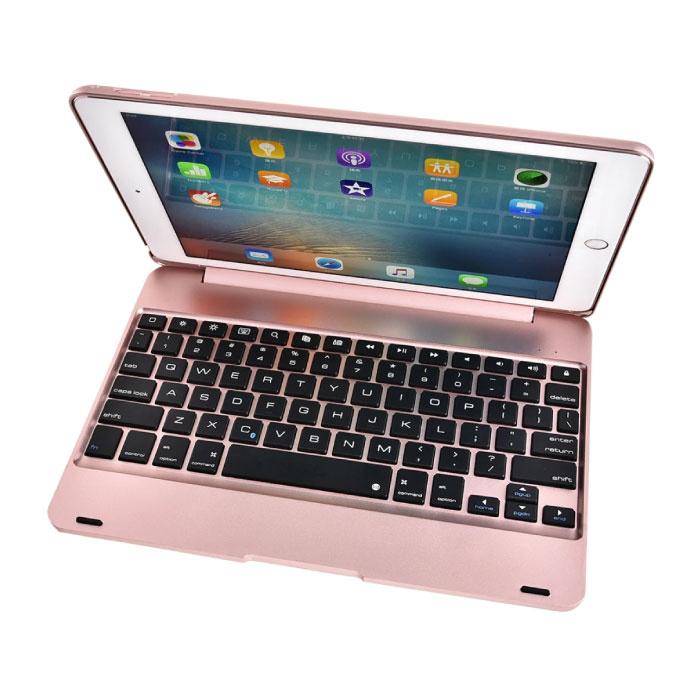 "Tastaturabdeckung für iPad 9,7 ""- QWERTY Multifunktionstastatur Bluetooth Smart Cover Hülle Pink"