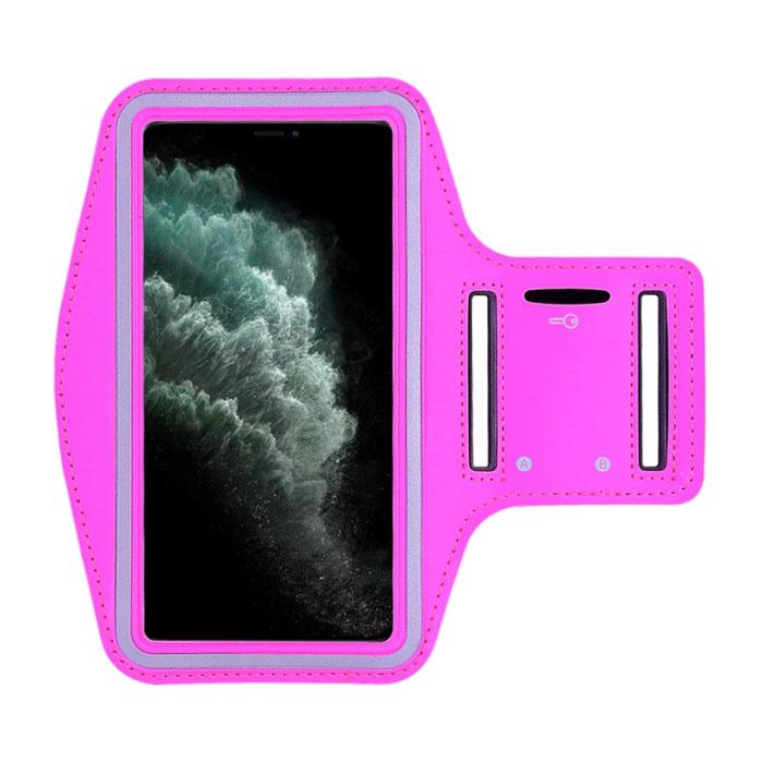 Waterdicht Hoesje voor iPhone SE - Sport Tasje Zakje Cover Case Armband Jogging Hard Lopen Donkerroze