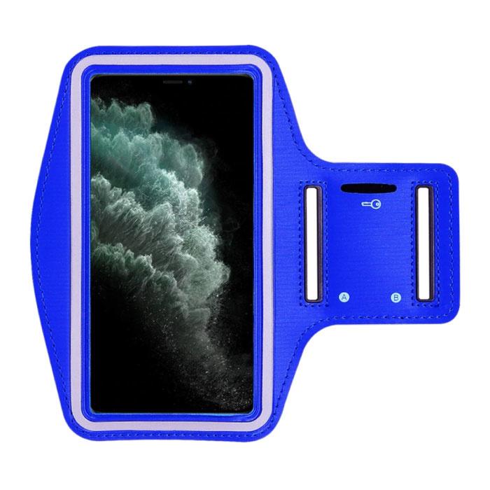 Waterdicht Hoesje voor iPhone SE - Sport Tasje Zakje Cover Case Armband Jogging Hard Lopen Blauw