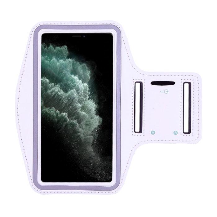 Wasserdichte Hülle für iPhone XS - Sporttasche Pouch Cover Case Armband Jogging Running Hard White