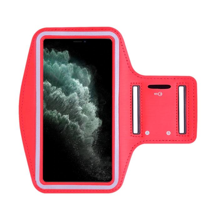 Étui étanche pour iPhone 12 Pro Max - Pochette de sport Housse de protection Brassard Jogging Running Hard Red