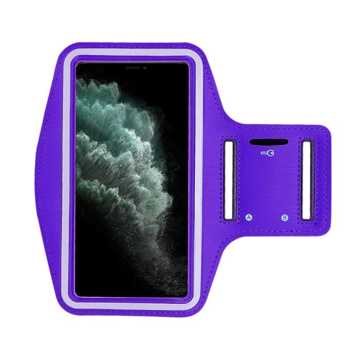 Waterdicht Hoesje voor iPhone 12 - Sport Tasje Zakje Cover Case Armband Jogging Hard Lopen Paars