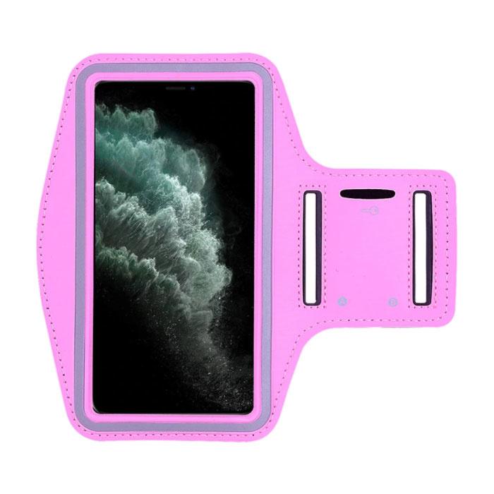 Étui étanche pour iPhone 12 Pro Max - Pochette de sport Housse de protection Brassard Jogging Running Hard Rose