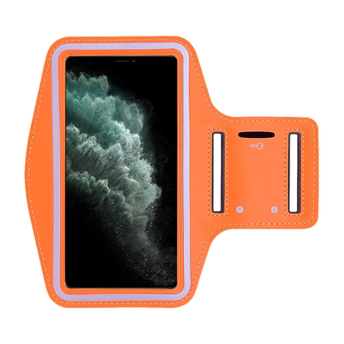 Wasserdichte Hülle für iPhone 12 - Sporttasche Pouch Cover Case Armband Jogging Running Hard Orange