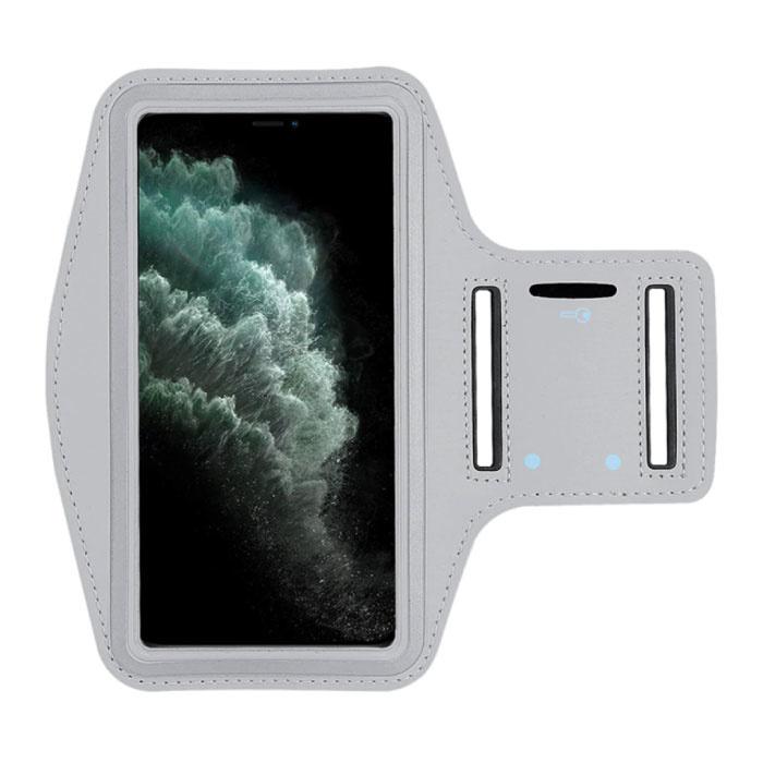 Waterdicht Hoesje voor iPhone 12 Pro Max - Sport Tasje Zakje Cover Case Armband Jogging Hard Lopen Grijs