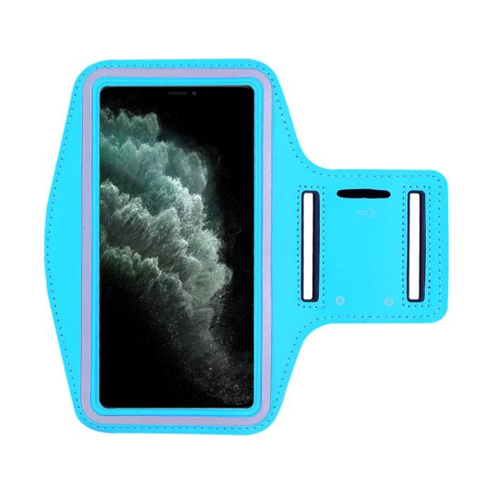 Waterdicht Hoesje voor iPhone XS - Sport Tasje Zakje Cover Case Armband Jogging Hard Lopen Lichtblauw