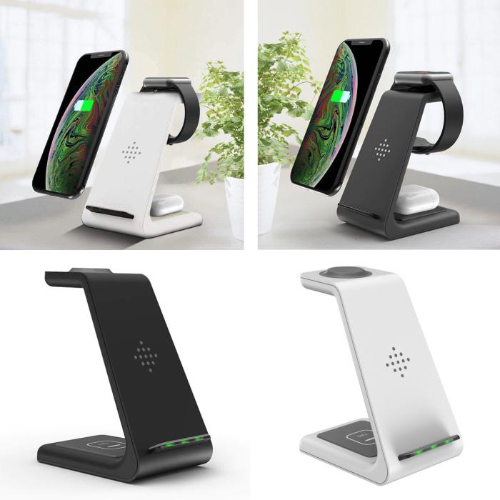Station de charge 3 en 1 pour Apple iPhone / iWatch / AirPods - Station de charge sans fil 18W Pad noir / blanc