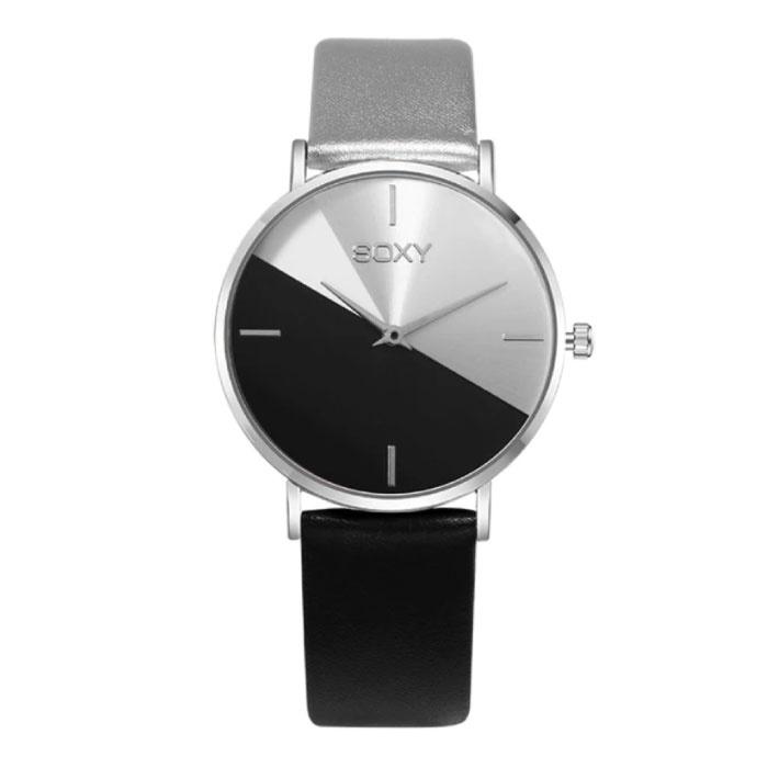 Minimalist Horloge voor Dames - Leren bandje - Anoloog Kwarts Uurwerk voor Vrouwen Zwart