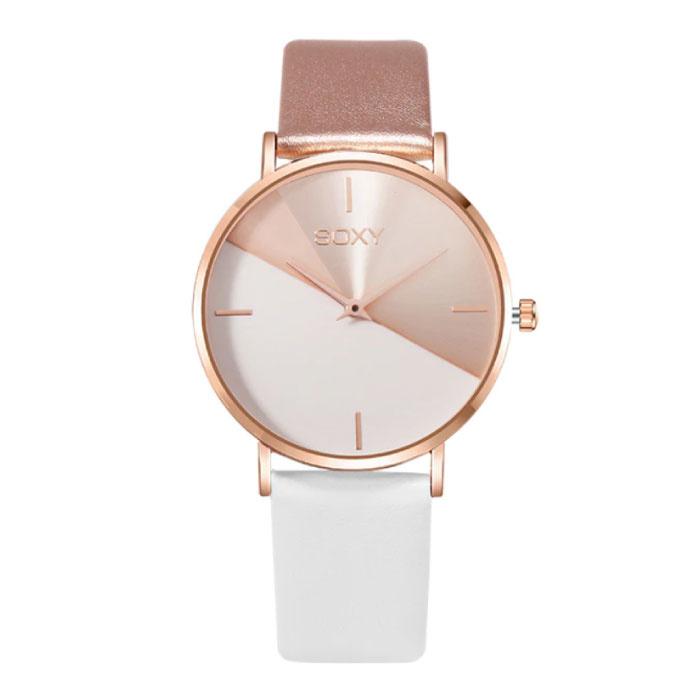Minimalist Horloge voor Dames - Leren bandje - Anoloog Kwarts Uurwerk voor Vrouwen Wit