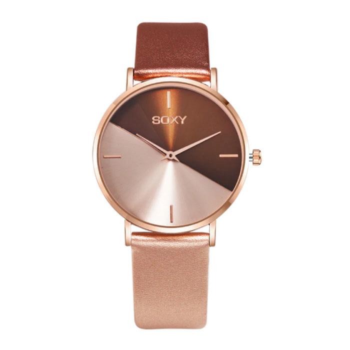 Montre minimaliste pour femme - Bracelet en cuir - Mouvement à quartz Anologue pour femme Or