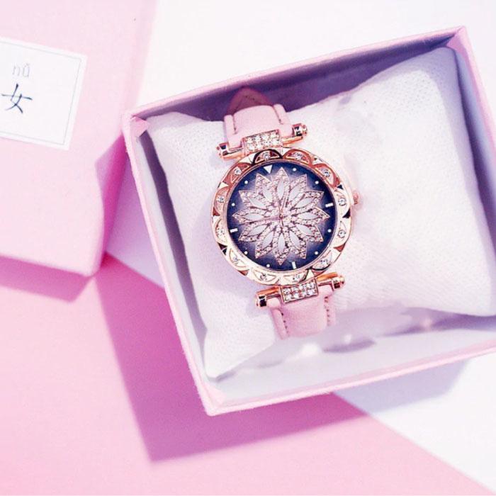 Starry Sky Horloge Dames - Luxe Anoloog Kwarts Uurwerk voor Vrouwen Roze