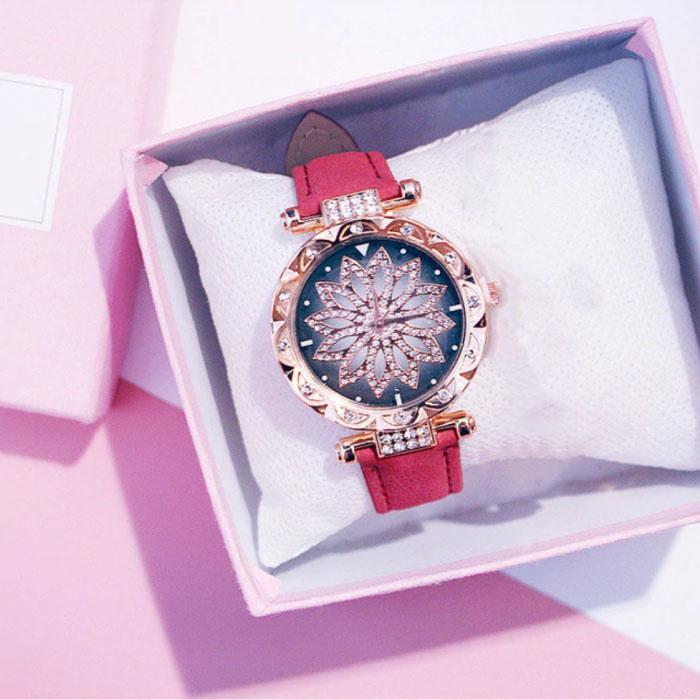 Starry Sky Horloge Dames - Luxe Anoloog Kwarts Uurwerk voor Vrouwen Rood
