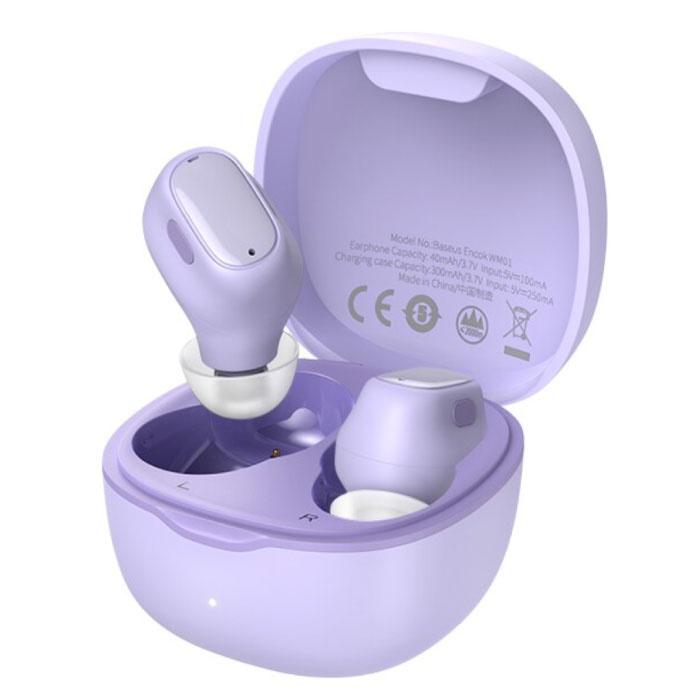 Encok WM01 Drahtlose Ohrhörer - Touch Control Ohrhörer TWS Bluetooth 5.0 Ohrhörer Ohrhörer Ohrhörer Lila
