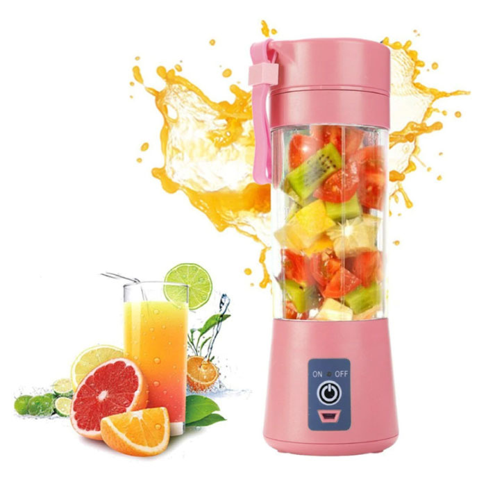 Portable Blender with 6 Milling Blades - Portable Smoothie Maker Juicer Juice Extractor Pink
