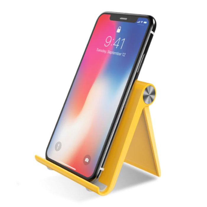 Universele Telefoonhouder Bureau Standaard - Videobellen Smartphone Holder Desk Stand Geel