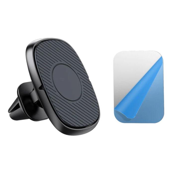 Magnetische Telefoonhouder Auto met Luchtrooster Clip en Magnetische Sticker - Universele Dashboard Smartphone Holder Zwart