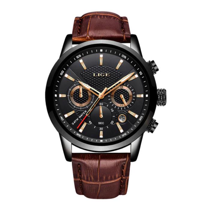 Montre de luxe pour homme avec bracelet en cuir - Mouvement mécanique Anologue pour homme Quartz noir