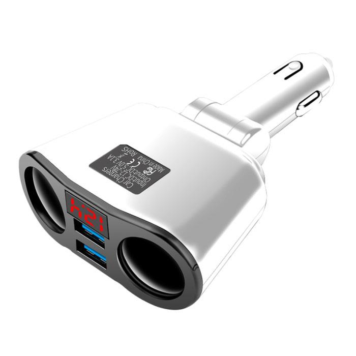 Fiche de répartiteur d'allume-cigare à 2 voies avec 2 ports USB 45W / 3.1A - Fiche de distribution d'alimentation Répartiteur de chargeur de voiture à double port Carcharger - Blanc