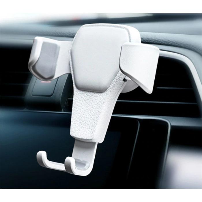 Support Téléphone Universel Voiture avec Clip Grille d'Air - Support Smartphone Gravity Dashboard Blanc