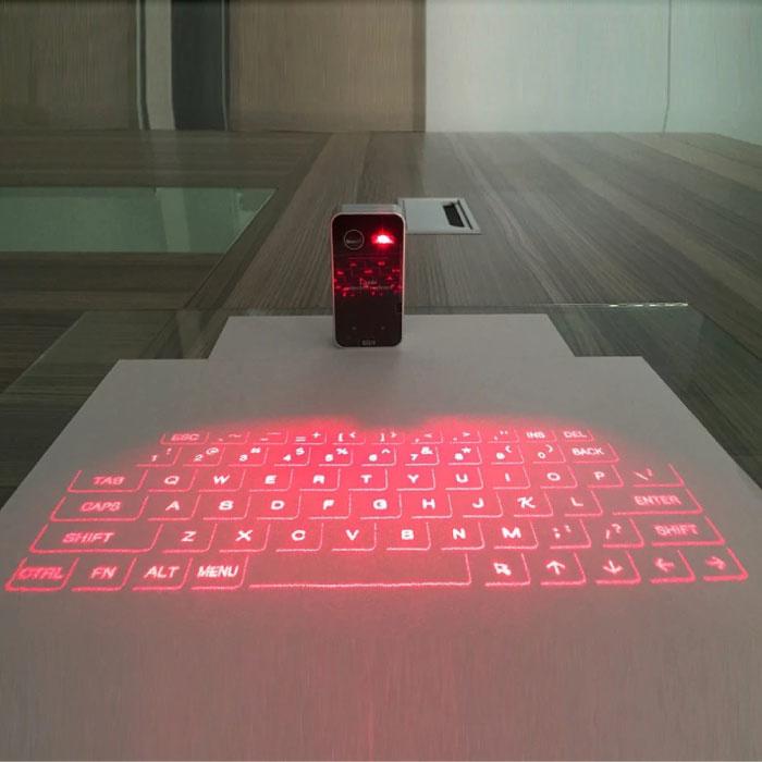 Mini clavier laser sans fil - Projection de LED de clavier virtuel portable de poche pour Windows, IOS, Mac OS X et Android Gris