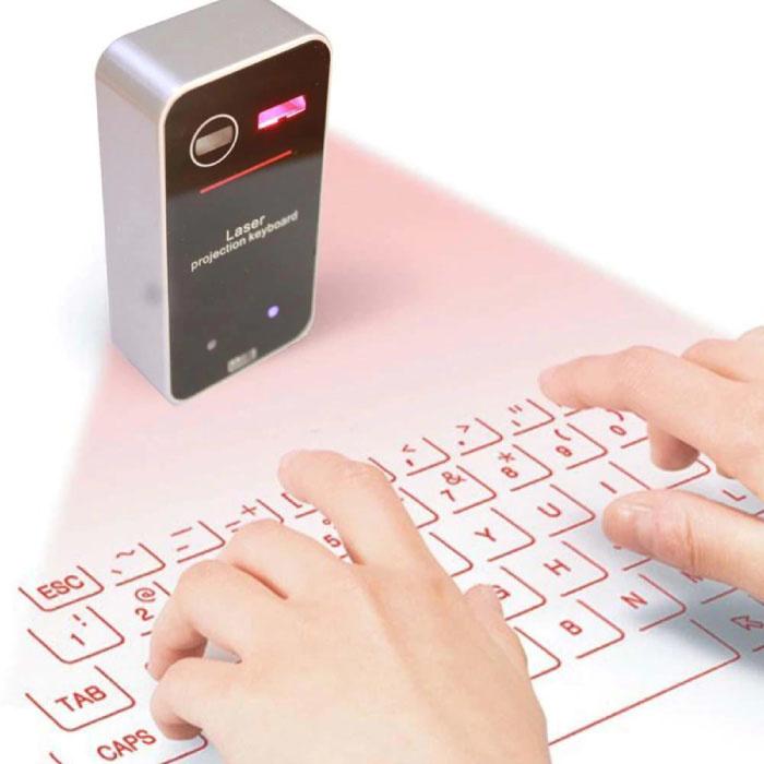 Pocket Laser Toetsenbord - Draagbaar Mini Virtueel Keyboard LED Projectie Draadloos voor Windows, IOS, Mac OS X en Android