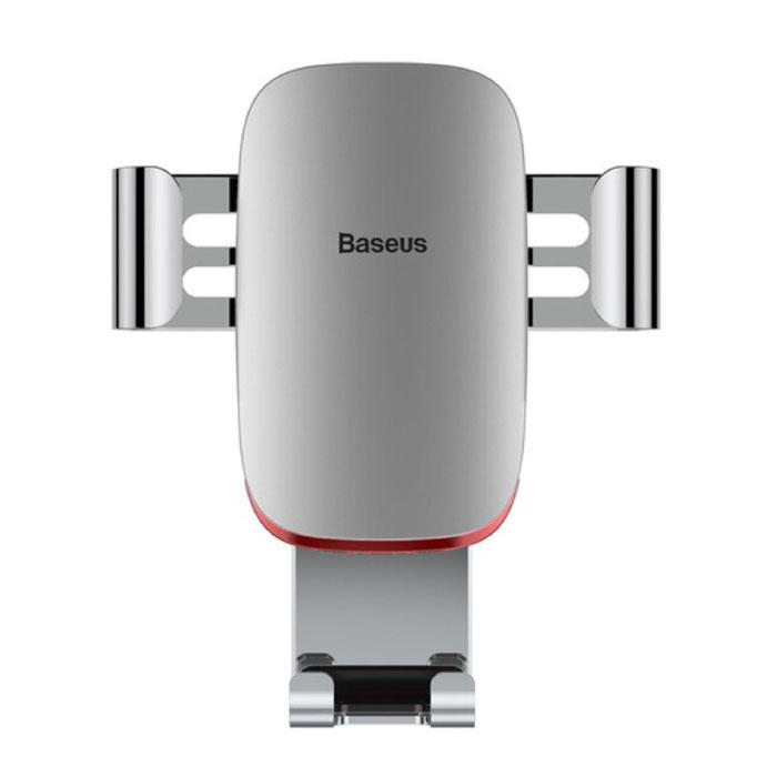 Support Téléphone Universel Voiture avec Clip Grille Air - Support Smartphone Gravity Dashboard Argent