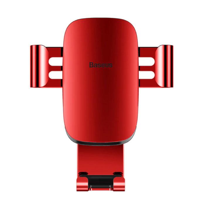 Support de téléphone universel pour voiture avec clip d'aération - Support pour smartphone Gravity Dashboard Rouge