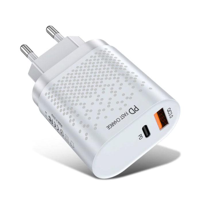 2-Port-USB-Ladegerät - 36 W PD-Schnellladung / Schnellladung 3.0 - Netzstecker-Ladegerät Wandladegerät AC-Home-Ladegerät-Adapter Weiß
