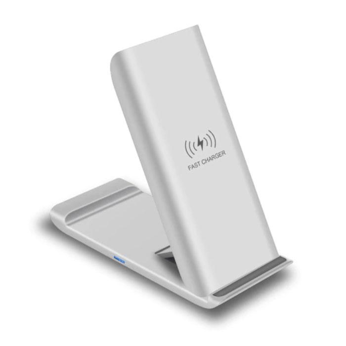 Qi Draadloze Oplader Bureau Standaard 15W - Type C Universeel Telefoonhouder Wireless Charging Pad Wit
