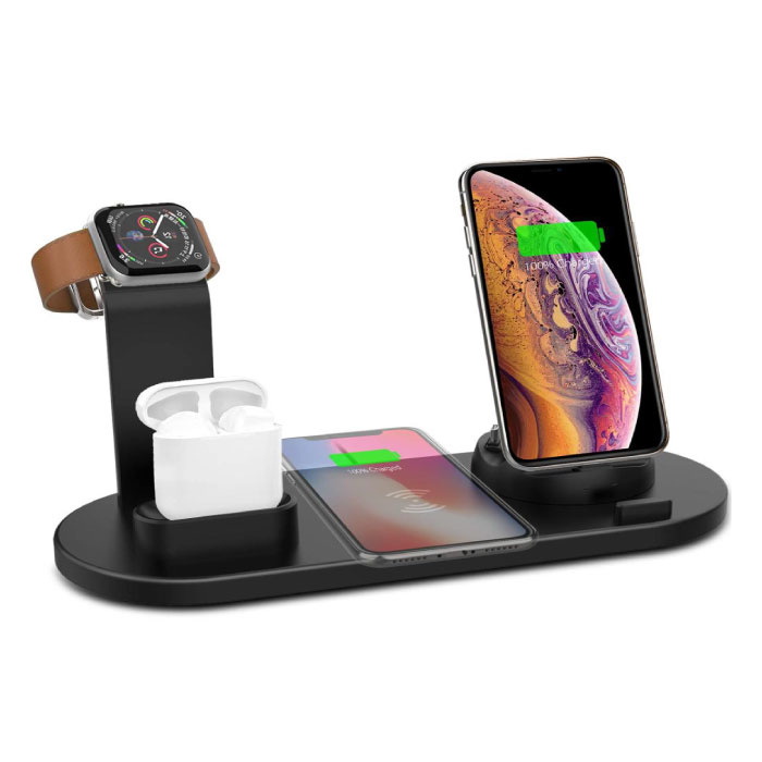 4 in 1 Charging Station for Apple iPhone / iWatch / AirPods - Charging Dock 10W Wireless Pad Black