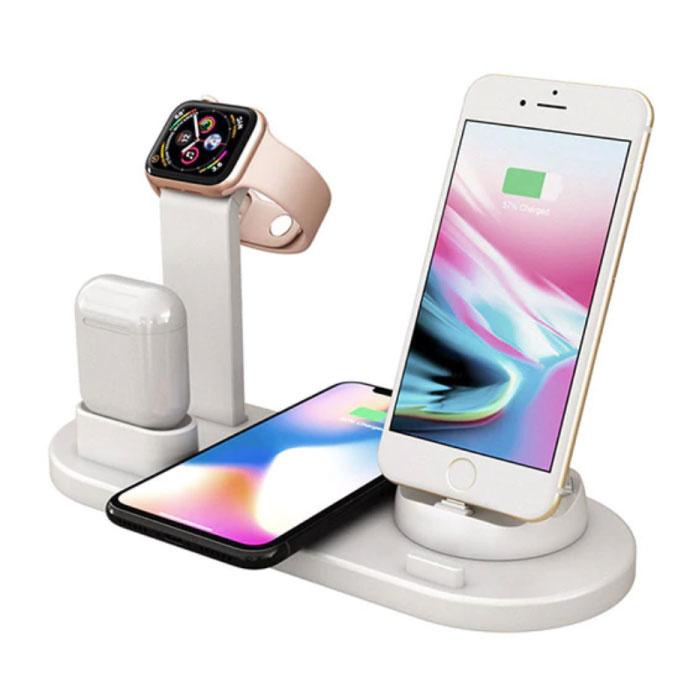 Station de charge 4 en 1 pour Apple iPhone / iWatch / AirPods - Station de charge sans fil 10W Pad Blanc